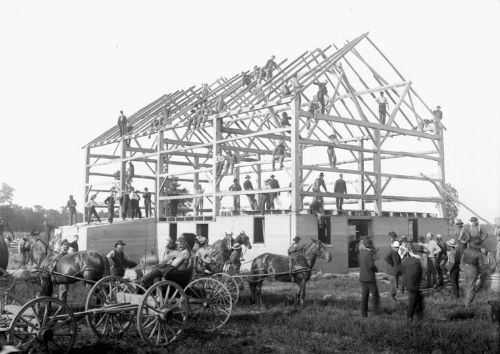 Old fashioned Barn Raising